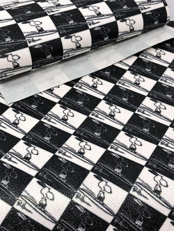 Glitter Black and White Surfing Dog Sheet