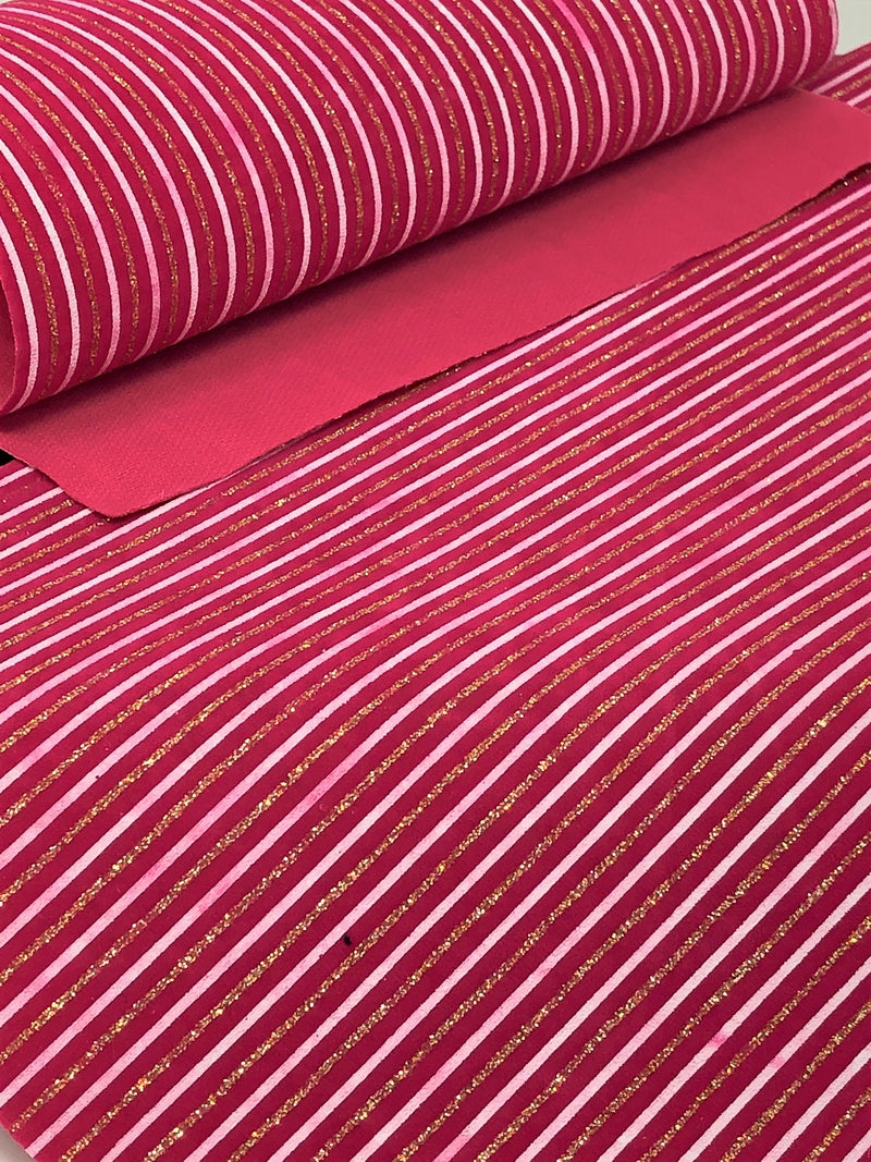 Hot Pink, White and Gold Striped Velvet Sheet