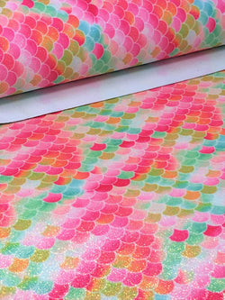 Glitter Pink and Green Mermaid Scales Sheet