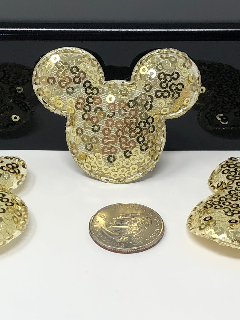 Gold Sequin Mouse Head Applique