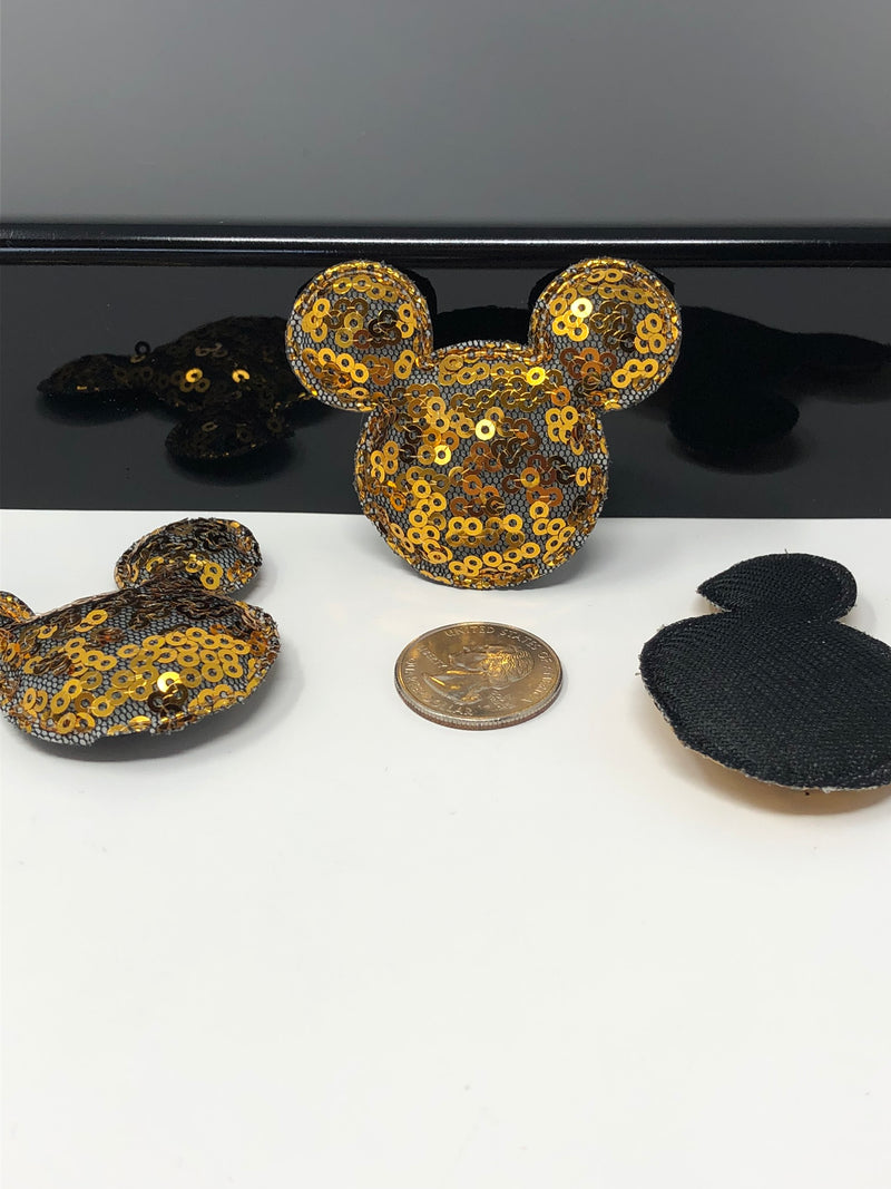 Copper Sequin Mouse Head Applique