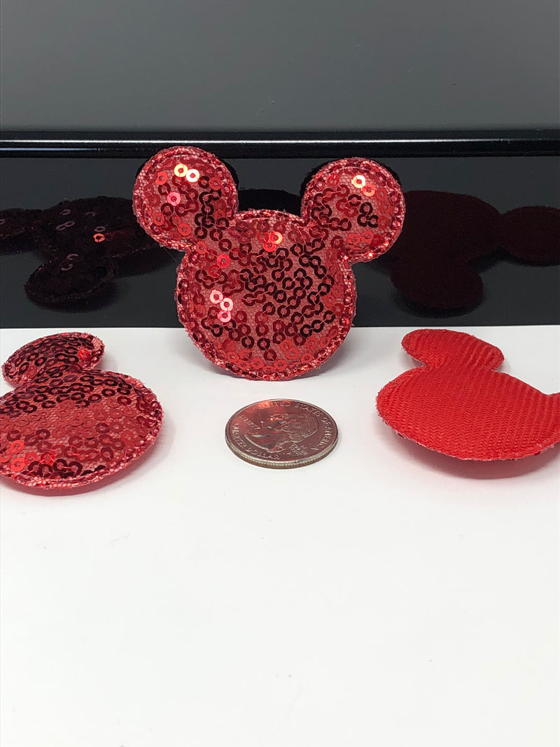 Red Sequin Mouse Head Applique