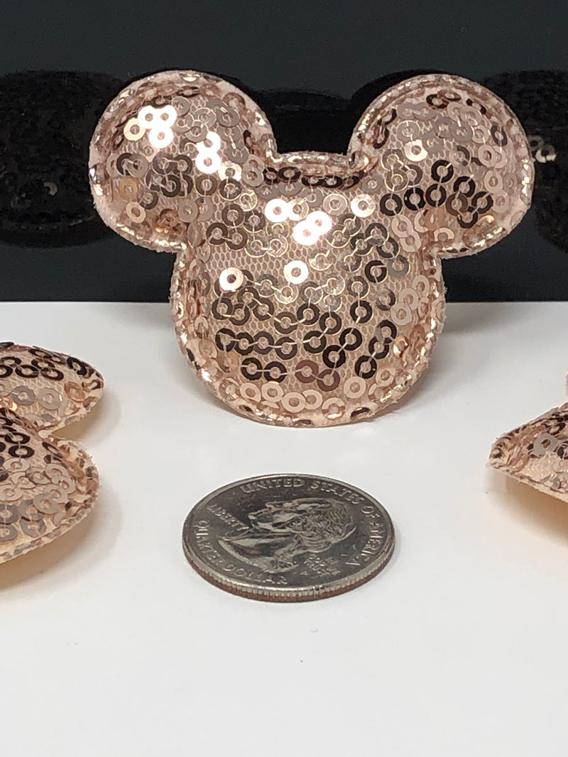 Small Rose Gold Sequin Mouse Head Applique