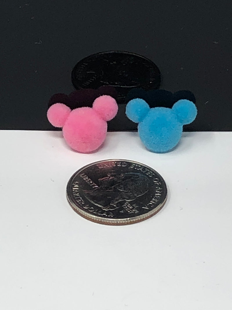 Pink and Blue Velvet Mouse Head 3D Resin Set