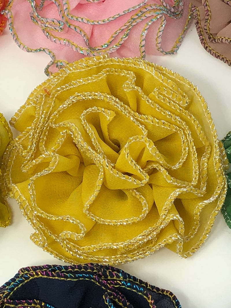 "3"" Metallic Edged Ruffle Flower"