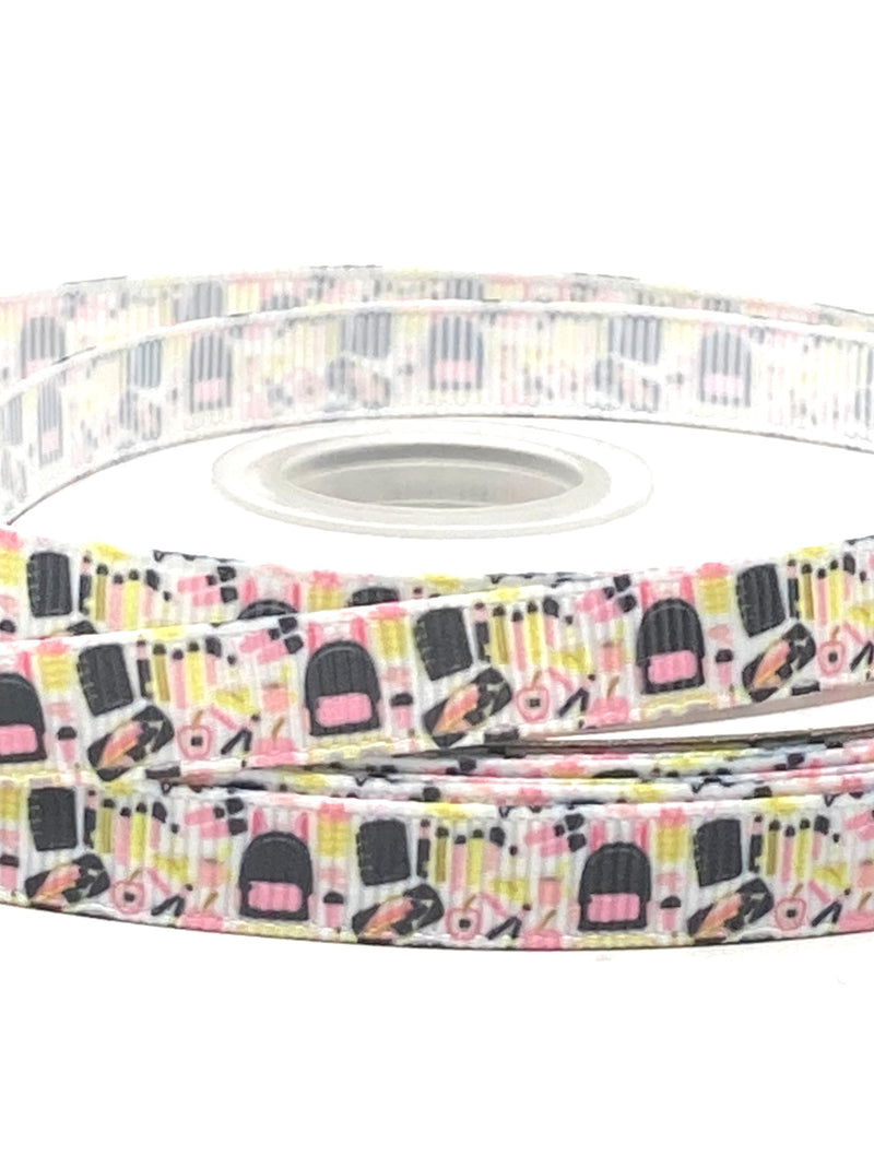 "3/8"" Pink and Black School Supplies Ribbon"