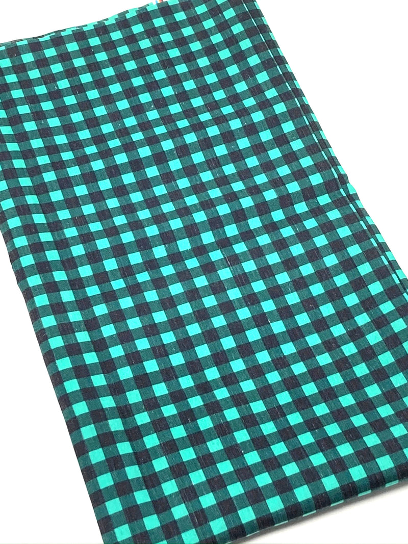 Green Buffalo Plaid Poly/Cotton Blend Fabric - Half Yard