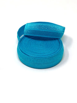 Solid Turquoise Fold Over Elastic
