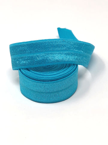 Solid Light Turquoise Fold Over Elastic