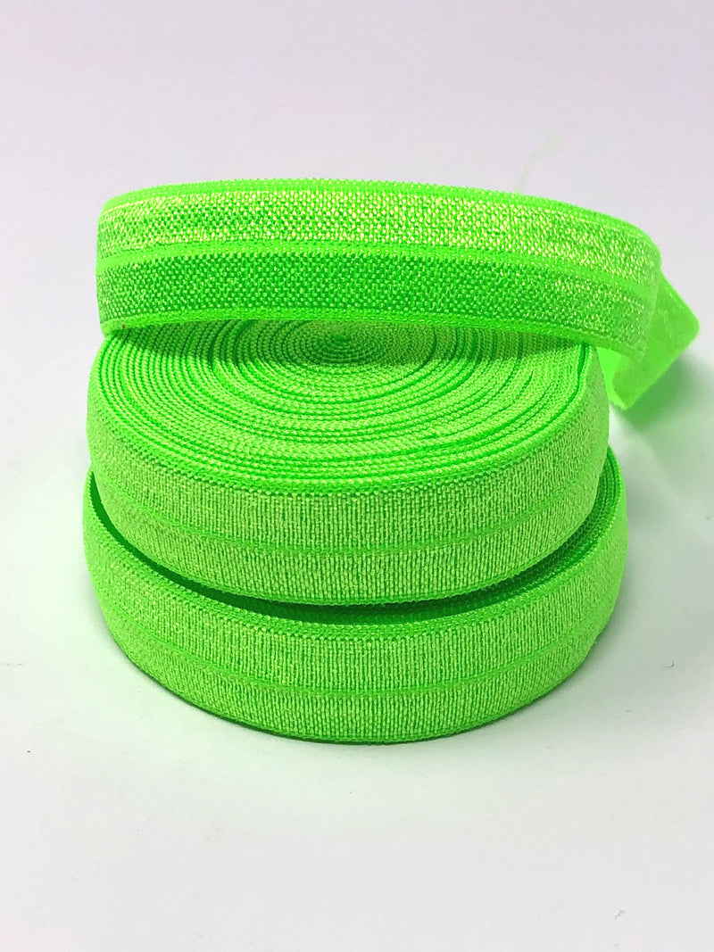 Solid Fluorescent Green Fold Over Elastic