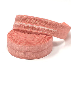 Solid Coral Fold Over Elastic