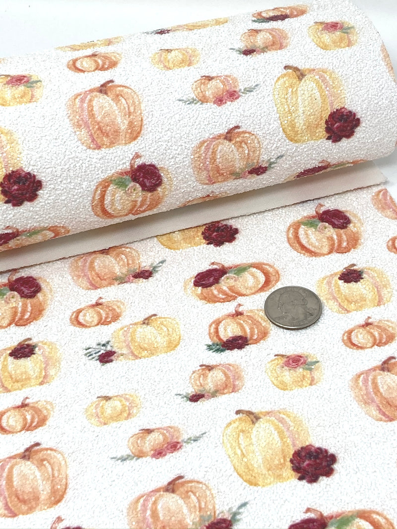 Watercolor Floral Pumpkins Chunky Glitter Sheet