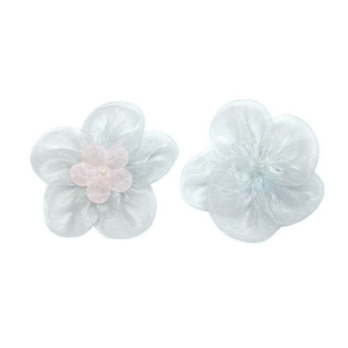 White and Pink Organza Flowers