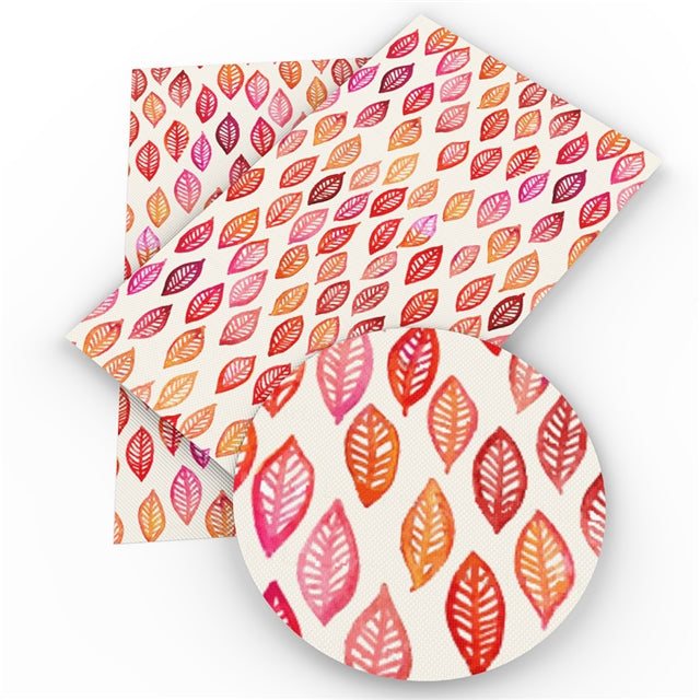 Watercolor Leaves Faux Leather Sheet