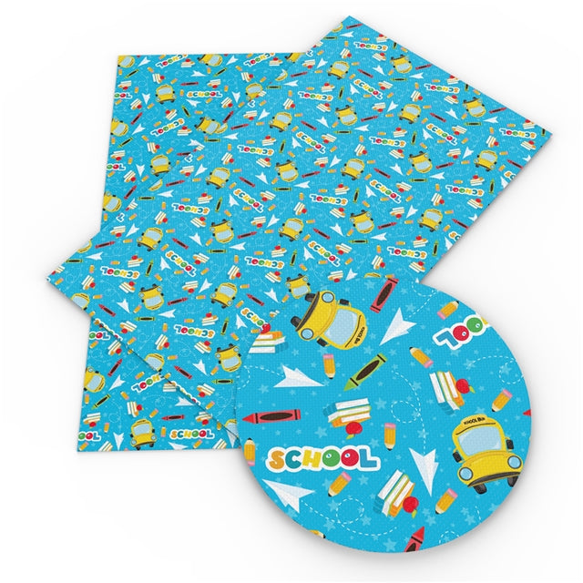 Blue School Bus Faux Leather Sheet