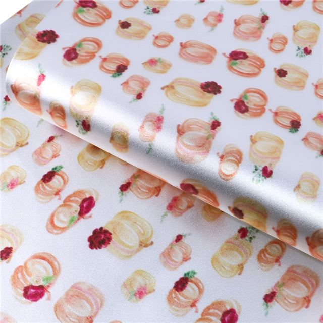 Watercolor Floral Pumpkins Pearlized Metallic Sheet
