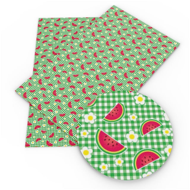Watermelon Gingham Faux Leather Sheet