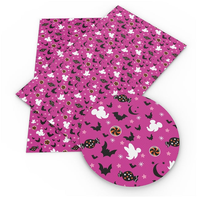 Pink Halloween Mouse Faux Leather Sheet