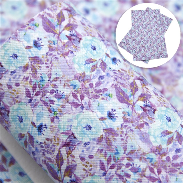 Blue and Purple Floral Faux Leather Sheet