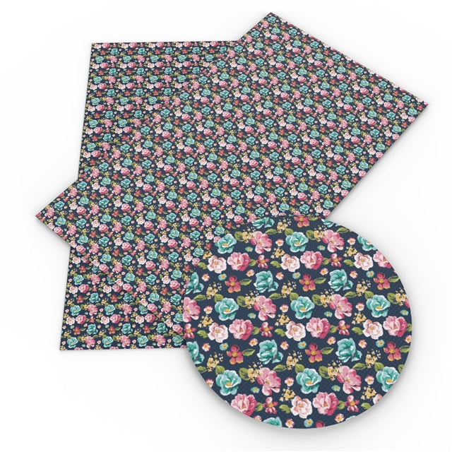 Pink and Blue Flowers Faux Leather Sheet