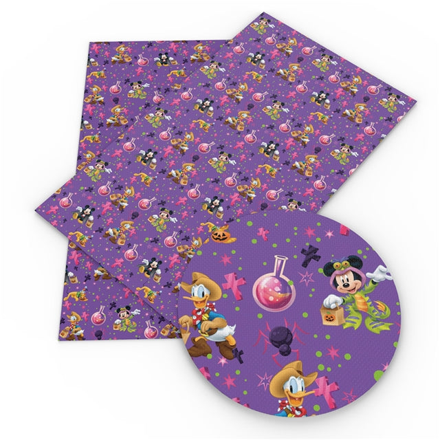 Wholesome Purple Halloween Mice Faux Leather Sheet