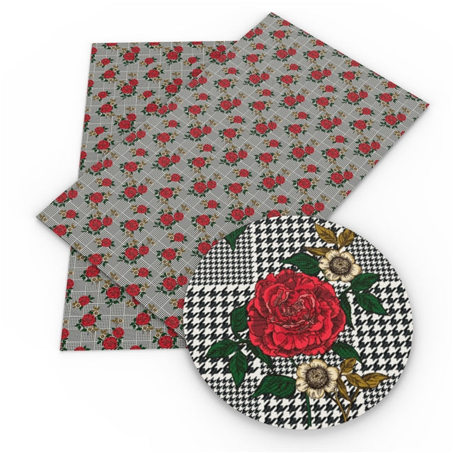Roses and Houndstooth Faux Leather Sheet