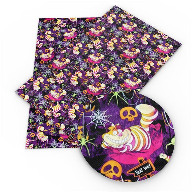 Halloween Cheshire Faux Leather Sheet