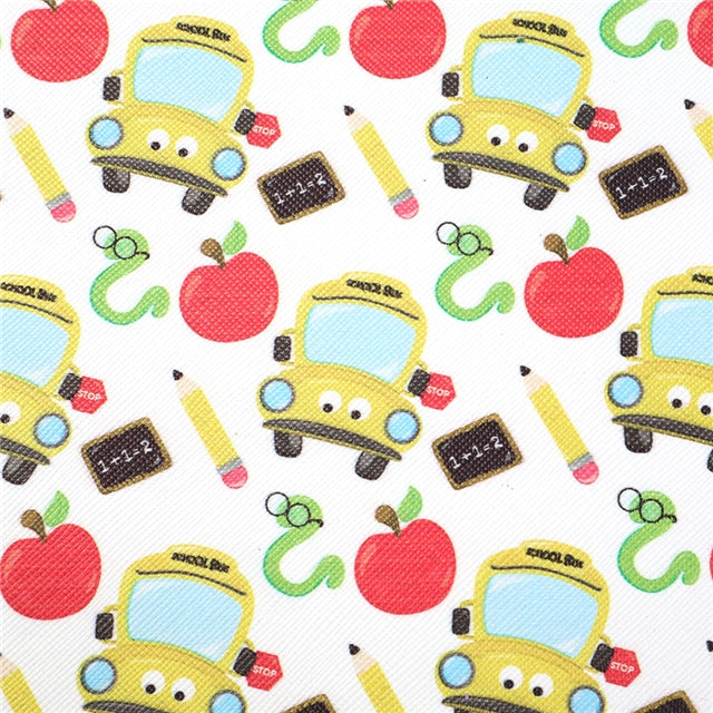 White School Bus Faux Leather Sheet