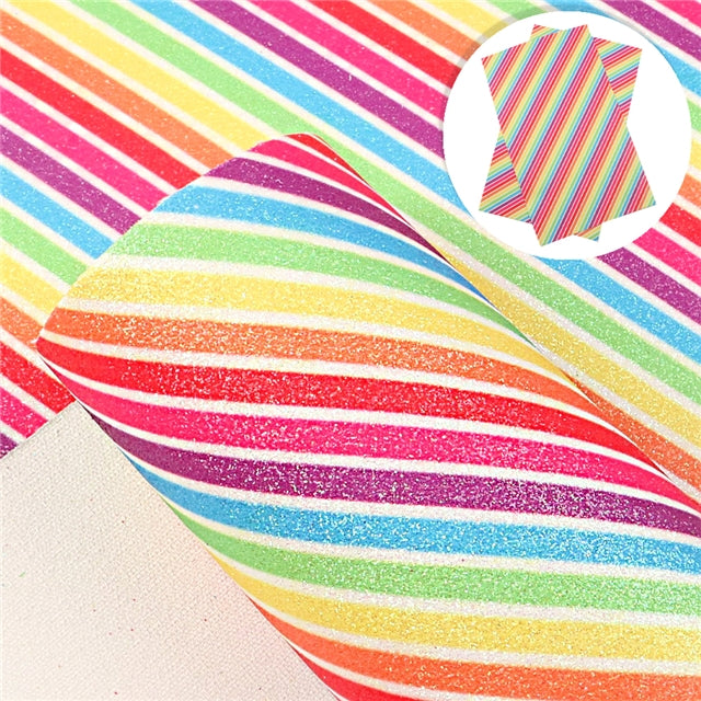 Rainbow Stripes Fine Glitter Sheet