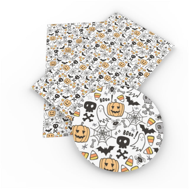 Halloween Doodles Faux Leather Sheet