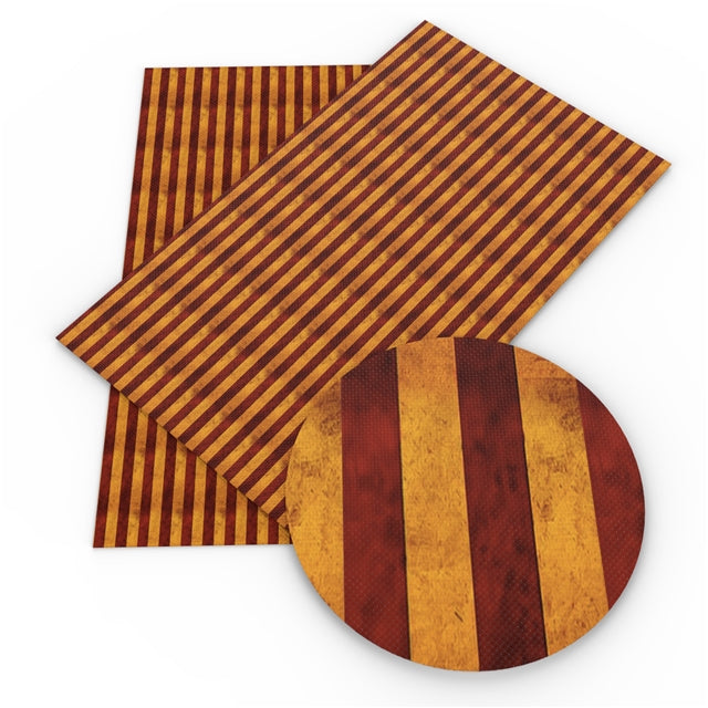 HP Red and Old Gold Stripes Faux Leather Sheet
