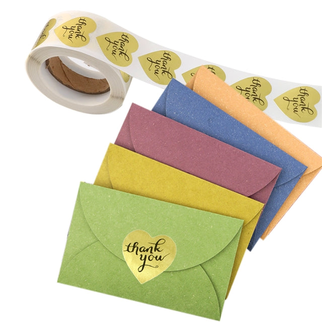 "1"" Gold Heart Thank You Stickers (roll of 500)"