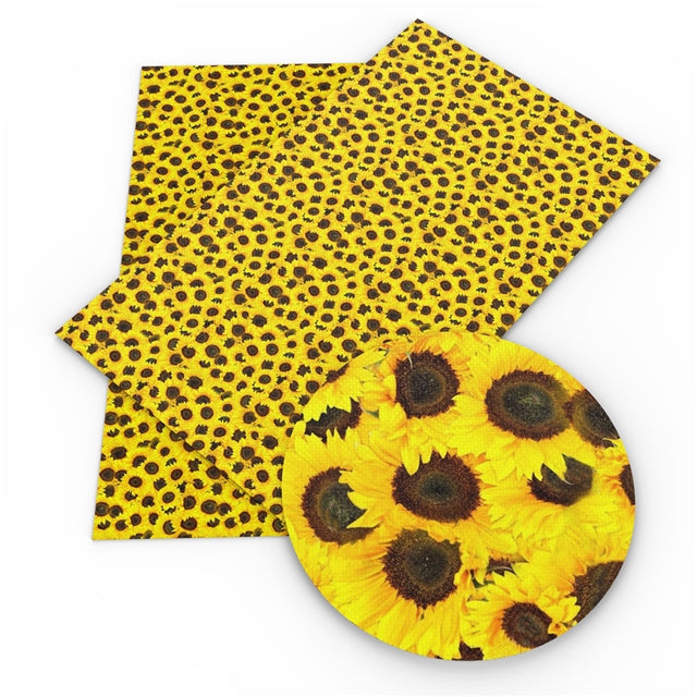 Blanket of Sunflowers Faux Leather Sheet