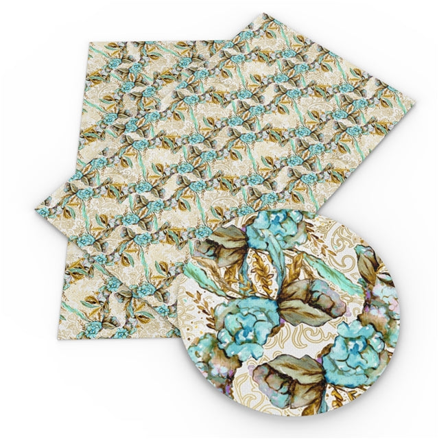 Blue and Tan Floral Faux Leather Sheet