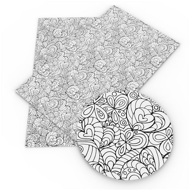 Color Your Own Floral Hearts Sheet