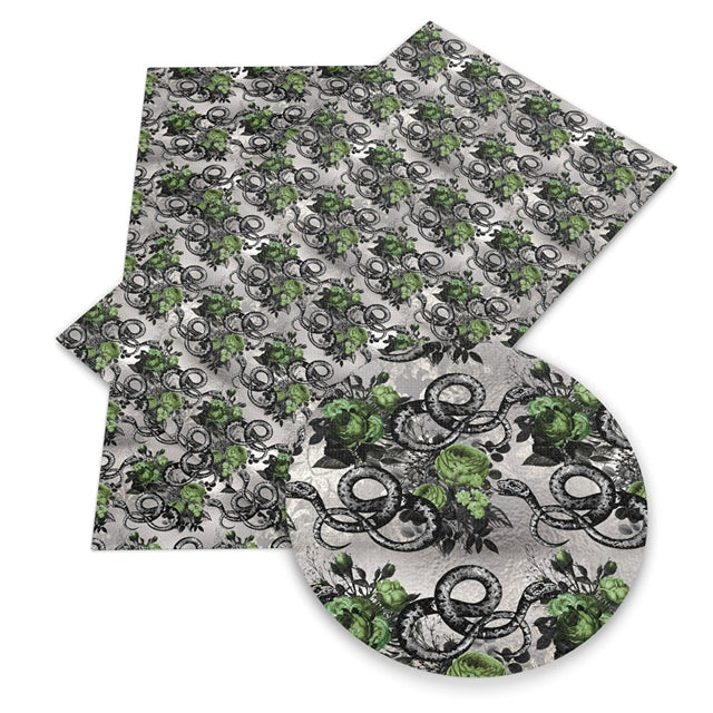 Snakes and Roses Faux Leather Sheet