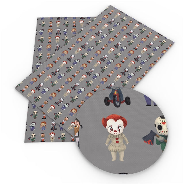 Grey Horror Characters Faux Leather Sheet
