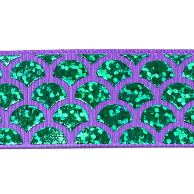 "1"" Green Laser Mermaid Scale Ribbon"