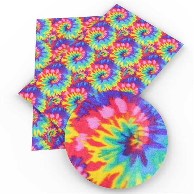 Rainbow Tie-Dye Faux Leather Sheet