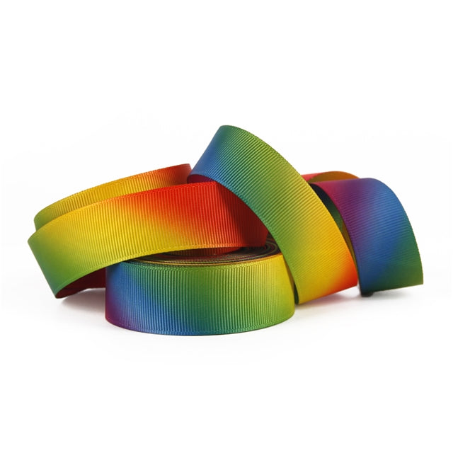 "1"" Rainbow Gradient Double Sided Ribbon"