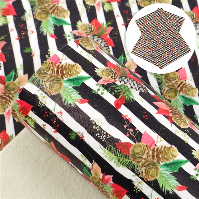 Christmas Pinecone Stripes Sheet (Smooth Texture)