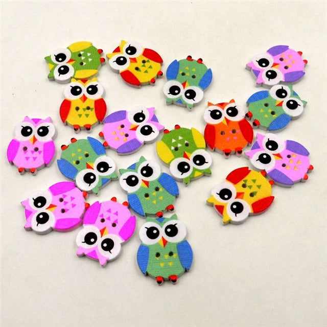 Colorful Owls Wooden Buttons (pack of 50)