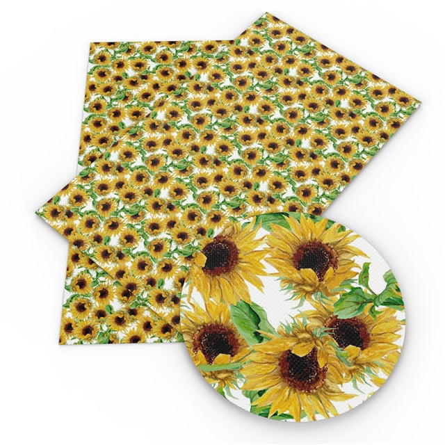 White Sunflowers Faux Leather Sheet