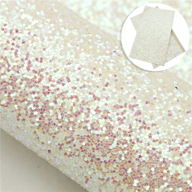 White Iridescent Chunky Glitter Sheet
