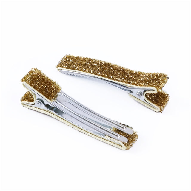 Glitter Lined Alligator Clips with Teeth