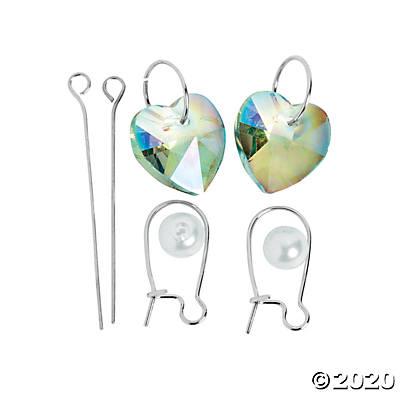 Glass Iridescent Heart Earrings Craft Kit