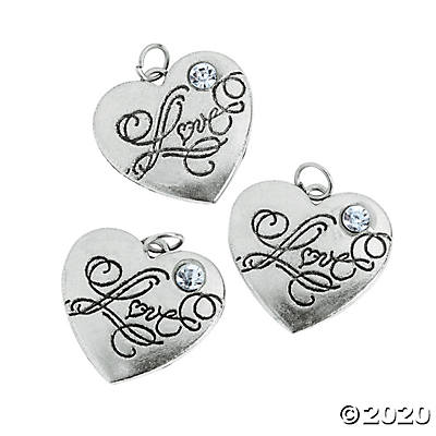 "Heart-Shaped ""Love"" Charm with Rhinestone"