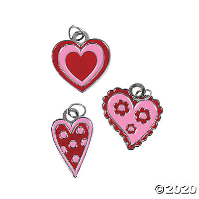 Metal Red & Pink Enamel Heart Charms
