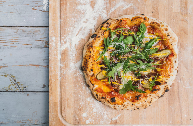 Slow-Braised Brisket, Pickle & Mustard Pizza