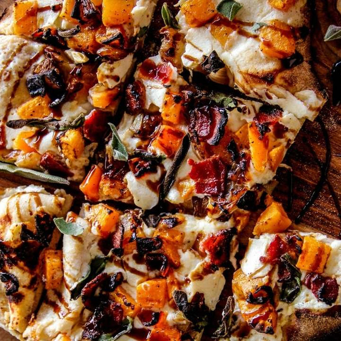 Protein-crust Pizza with Butternut Squash, Bacon, and Caramelized Onion
